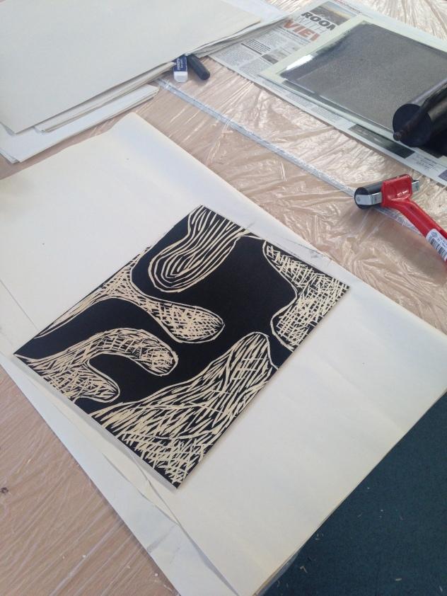 Printmaking workshop at Studio 3 Arts residency. © 2015