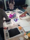 Rolling on the ink, printmaking workshop at Studio 3 Arts residency. © 2015