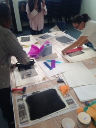 Rolling on the ink, printmaking workshop at Studio 3 Arts residency. © 2015