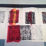 Woodcut printmaking workshop at Studio 3 Arts, 2015