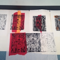Woodcut printmaking workshop at Studio 3 Arts, 2015
