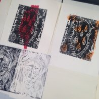 Woodcut relief prints, created with Japanese cutting tools.