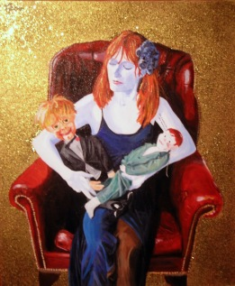 Portrait of Hannah, with Mr Kingfisher and Edward 2012, Acrylic & glitter on canvas, 60 x 50cm, £NFS
