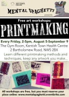 Printmaking workshops at Free Space Gallery, 2016