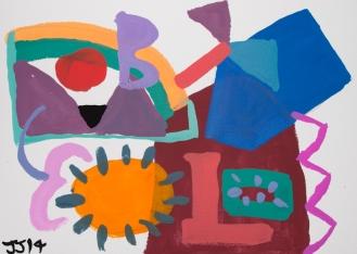 Blue Enters ©John Jennings Gouache and pencil on paper. 29.5 X 21cms.