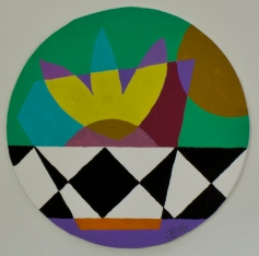 Checked ©John Jennings 2016 Gouache on paper. 17cm diameter. (6.6in diameter).