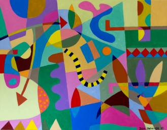 Childish John Jennings 2014 Acrylic on canvas. 71 X 91.5cms. Sold to A Ghose. 10.12.15. £220.00