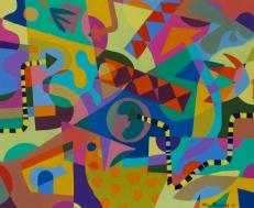 Clockwork II John Jennings 2016 Acrylic on canvas. 56 X 46cm. (22 X 18in)