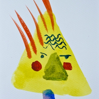 Head 2 ©John Jennings 2014 Watercolour onpaper 15 X 20cms
