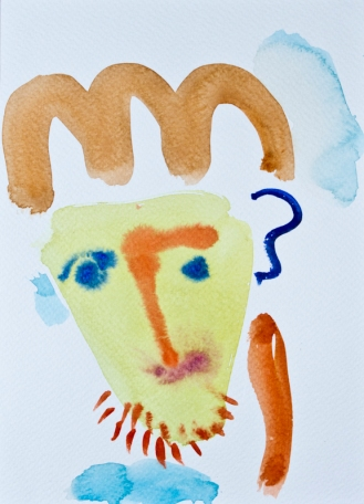 Head 3 ©John Jennings 2014 Wattercolour onpaper 15 X 20cms
