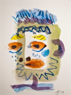 Head 4 ©John Jennings 2014 Watercolour on paper 15 X 20cms
