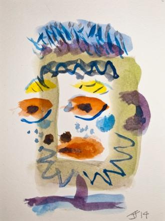 Head 4 ©John Jennings 2014 Watercolour on paper 15 X 20cms