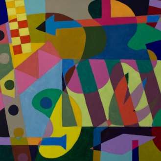 Moon Drive ©John Jennings 2014 Acrylic on canvas. 100 X 50cms