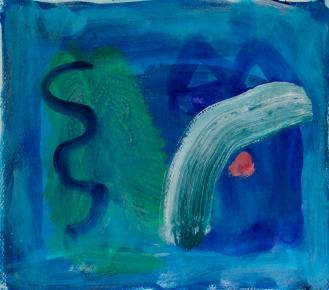 Snake in the Grass ©John Jennings 2016 Acrylic on paper. 33.7 X 29.5cm. (13.25 X 11.6in)
